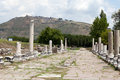 The asklepion in roman city pergamum via tecta sacred street leading to Royalty Free Stock Photos