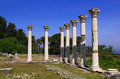 Asklepion site kos colonnade among the ruins of the in island greece Royalty Free Stock Photo