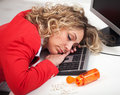 Asleep at the office Stock Photos