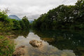 Ason River Reflections by Ramales de la Victoria, Cantabria Royalty Free Stock Photo