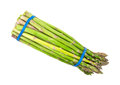 Asparagus bundle on white background top a view of a of secured with blue elastic bands Stock Photo