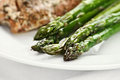 Asparagus freshly sauteed with salmon in background extreme shallow depth of field with selective focus on tip of Royalty Free Stock Photo