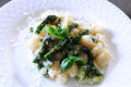 Asparagus and Gnocchi. Royalty Free Stock Photo