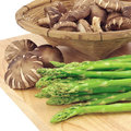 Asparagus and mushrooms Stock Photo
