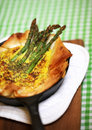 Asparagus quiche pie on phyllo pastry with eggs and cheese grated parmesan baked dinner Royalty Free Stock Photo