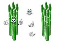 Asparagus vegetable spears cartoon character fresh with sappy green stems and funny face for agriculture or healthy food design Royalty Free Stock Image