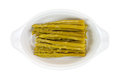 Asparagus in white baking dish Royalty Free Stock Photo