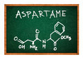 Aspartame chemical formula on school chalkboard Royalty Free Stock Photo