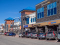 Aspen landing calgary canada may retail outlets at a popular suburban shopping are called on may in alberta canada Royalty Free Stock Photos