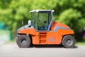 Asphalt compactor road static roller Stock Photo