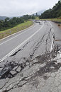 Asphalt cracked road collapsed Fotografia Stock Libera da Diritti