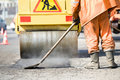 Asphalt paving works with compactor Royalty Free Stock Photography