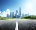 Asphalt road and city modern Stock Images