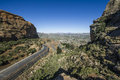 Asphalt road leading into the distance in lesotho mountains Stock Photo