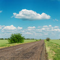 Asphalt road to horizon and clouds on sky Royalty Free Stock Photo