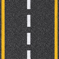 Asphalt road top view with white and yellow lines