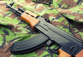 Assault rifle ak russian on camouflage clothing Royalty Free Stock Images