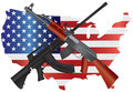Assault Rifles With USA Map Fl...