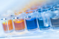 Assay plate well with colourful buffer for chemical analysis such as antioxidant tests different concentrations Stock Images