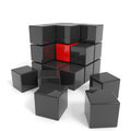 Assembled black cube with red core. Royalty Free Stock Images