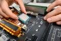 Assembling computer parts, closeup Royalty Free Stock Photo