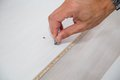 Assembling furniture close up of man flat pack Stock Photography