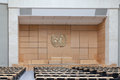 Assembly hall in un geneva switzerland august the united nations office unog switzerland the is used for big Royalty Free Stock Photography