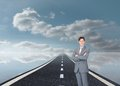 Assertive businessman standing on street composite image of floating in the sky Royalty Free Stock Photography