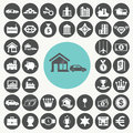 Asset and property icons set illustration eps Stock Photos