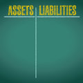 Assets and liabilities pros and cons illustration design over a chalkboard background Royalty Free Stock Image