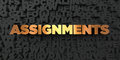 Assignments - Gold text on black background - 3D rendered royalty free stock picture