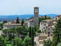 Assisi italy italian hill town of with castle Stock Photography