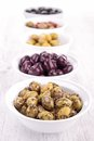 Assorment of olives close up on Royalty Free Stock Images
