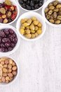 Assorment of olives close up on Stock Image