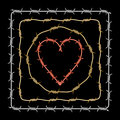 Assorted barbed heart circle square brushes isolated on black background metaphor for selfish bitter love dangerous relationship Stock Photography