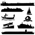 Assorted boat silhouettes Stock Photos