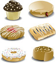 Assorted breakfast sweets illustration of an assortment of various including a chocolate muffin with white chocolate chips a Royalty Free Stock Photography