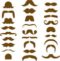 Assorted brown moustache silhouettes of many different styles Stock Photos