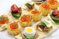 Assorted canape homemade party food Stock Image