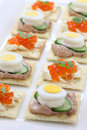 Assorted canape homemade party food Royalty Free Stock Photos