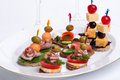 Assorted canapes Stock Images