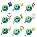 Assorted Cartoon Earth Smileys 2 Stock Images