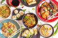 Assorted Chinese food set, toned Royalty Free Stock Photo