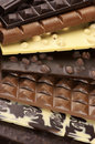 Assorted chocolate close up pile of bars Stock Image