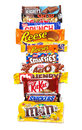 Assorted Chocolate Products in a Row Royalty Free Stock Images