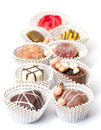 Assorted Chocolates Candy in Paper Basket Royalty Free Stock Photo