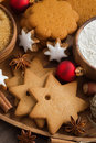 Assorted christmas cookies decorations and spices top view vertical Royalty Free Stock Image
