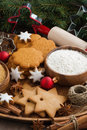 Assorted christmas cookies and ingredients for baking vertical top view Stock Photography