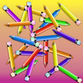 Assorted Colored Pencils on Pink & Yellow gradient Royalty Free Stock Image