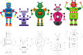Assorted colorful robot characters group of five bright colored robots and their drawings or outlines Stock Photo